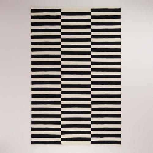 Black and White Striped Dhurrie Rug at Cost Plus World Market >> #WorldMarket Home Decor, Area Rugs, Tips & Tricks