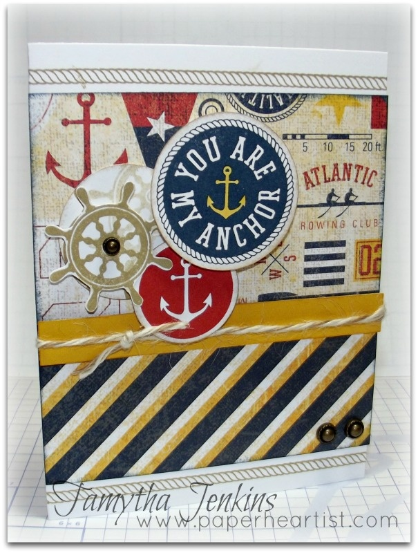 """Card created with Close To My Heart """"Tommy"""" paper and Sail Away Stamp.  By Tamytha Jenkins of www.paperheartist.com for New Product Blog Hop."""