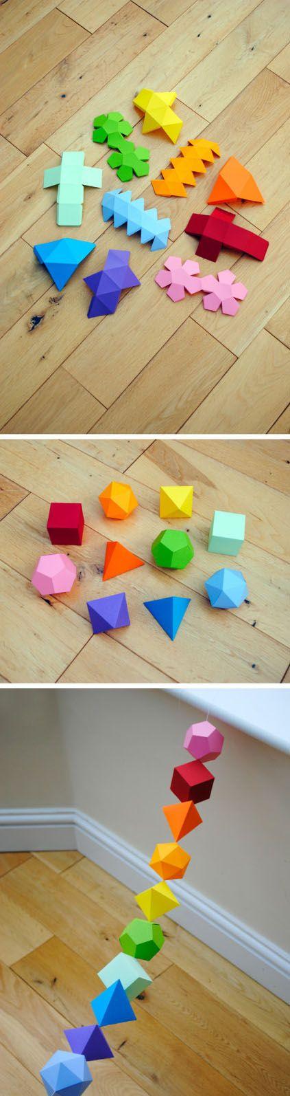 简单的几何形体折纸手工教程 正方形 圆形 三角形