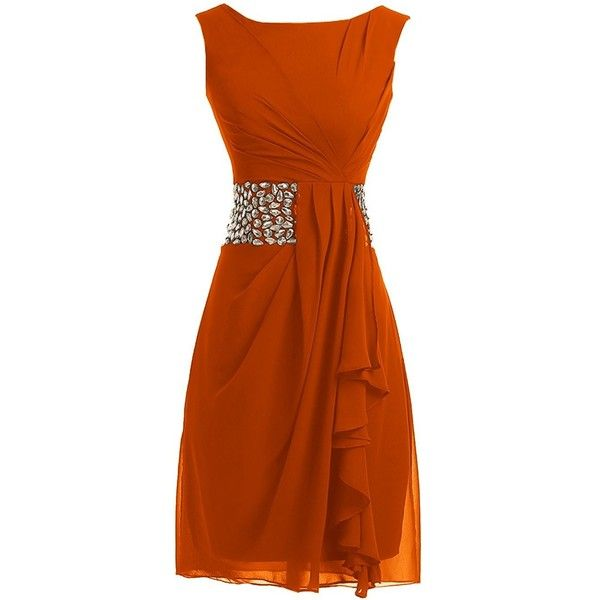 Sunvary 2015 Short Cocktail Dresses Mother of the Bride Dresses... ($28) ❤ liked on Polyvore featuring dresses, short orange dress, orange cocktail dresses, chiffon mother of the bride dresses, short chiffon dress and orange chiffon dress