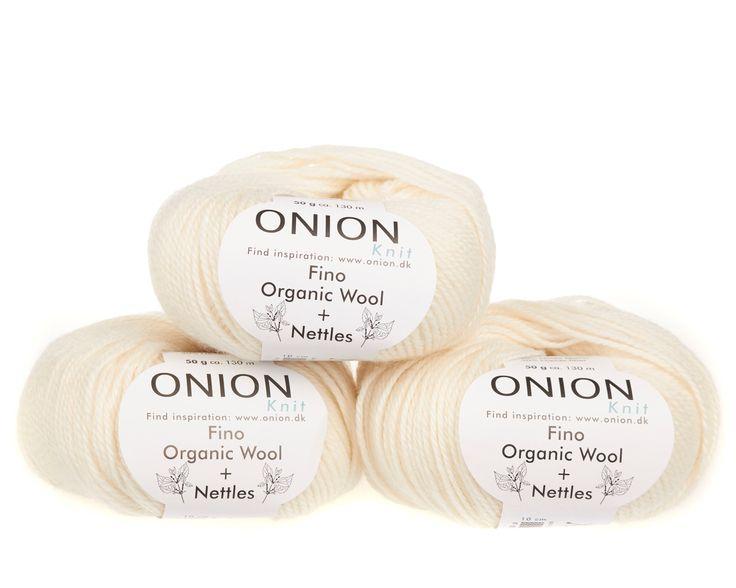 Råhvid V801 - No. 4 - Fin økologisk uld med nældefibre - Onion - Strikkepinden - Nøgler á 50 gram
