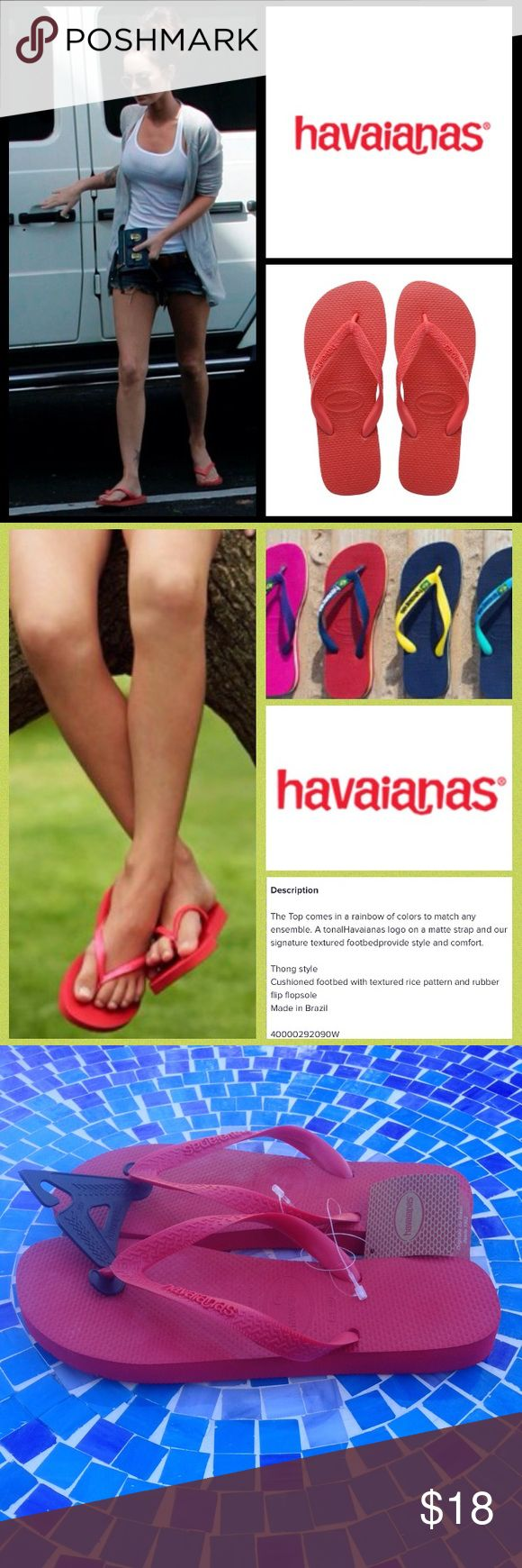 NEW!  Havaianas Top flip-flop sandals in Ruby red Brand new, ultra-pretty Havaianas flip-flops are the ultimate footwear for all-day wear!  These sandals are shock absorbing, super comfy & the gorgeous shade of Ruby red will add a pop of color to all your warmer weather attire!  The classic style is an iconic look that will never go out of style & they are brand new, never worn with tags attached!  Worn by so many celebs!  No trades please. Havaianas Shoes Sandals