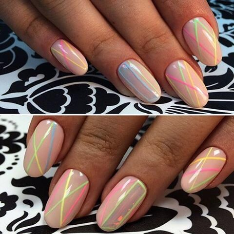 Birthday nails, Gel polish on the nails oval, Geometric nails, Ideas of colorful nails, Ideas of gentle nails, Medium nails, New year nails ideas 2017, Striped nails