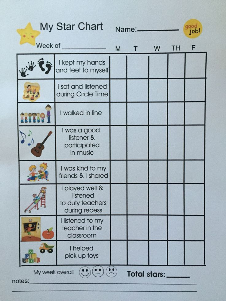 Toddler positive behavior star chart