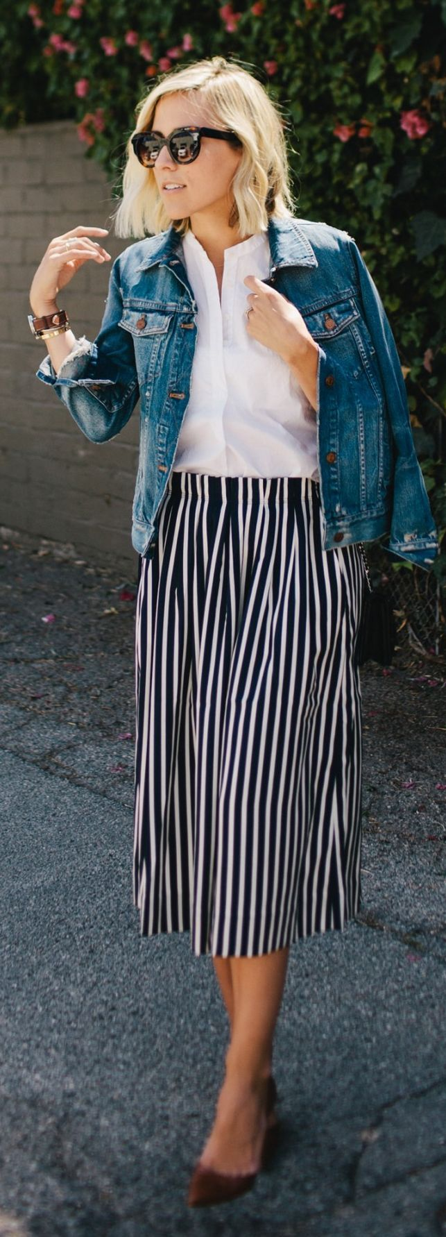 Midi Striped Skirt Outfit Idea by Damsel In Dior