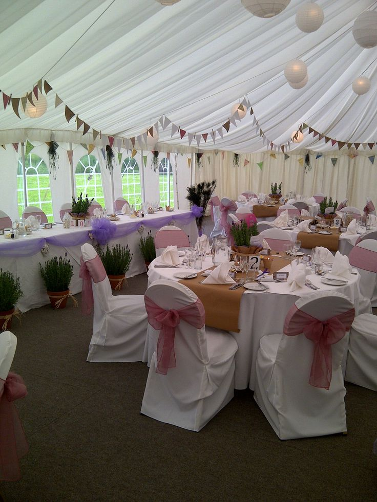 The marquee at Prested Hall with bunting http://www.prested.co.uk/weddings/