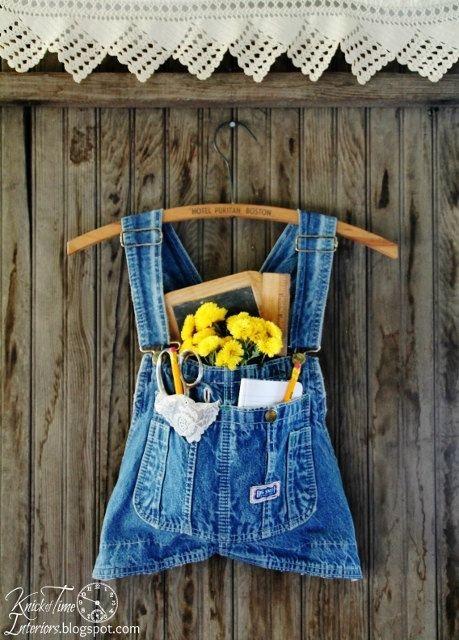 Denim Overalls Wall Pocket with Vintage Wooden Clothes Hanger available from KnickofTime  See more unique vintage and upcycled creations at http://knickoftimeinteriors.blogspot.com/