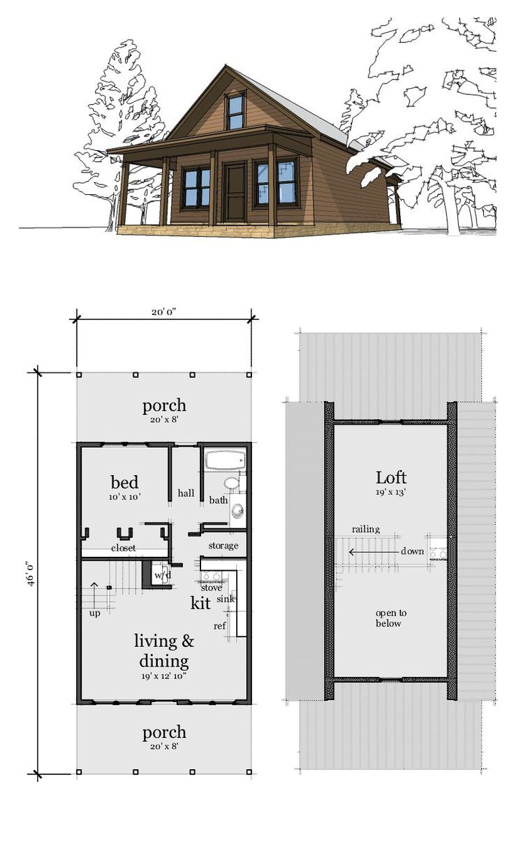 Narrow Lot Home Plan 67535 | Total Living Area: 860 sq. ft., 2 bedrooms & 1 bathroom. A small cabin with a bedroom and loft. It's small, affordable, and great as a getaway spot. #houseplan #narrowlotplan