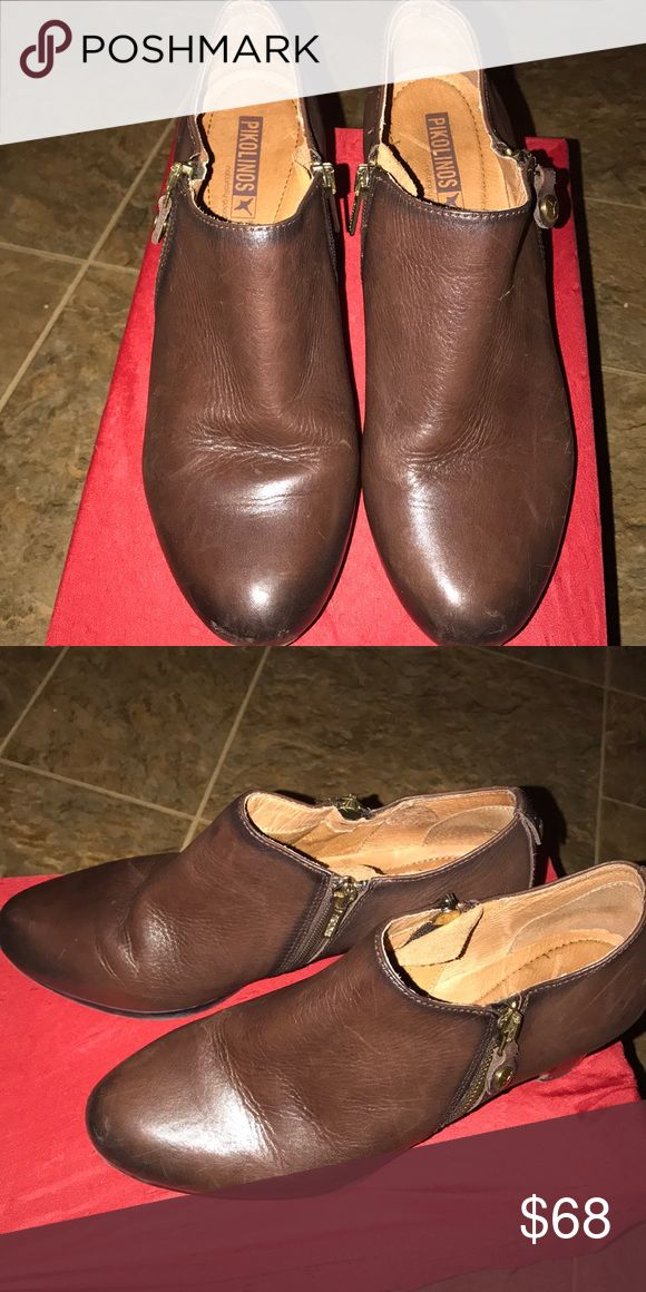 Pikolinos woman brown leather boots size 9 Pikolinos woman ankle leather brown boot with zippers size 9 fairly good condition pikolinos Shoes Ankle Boots & Booties