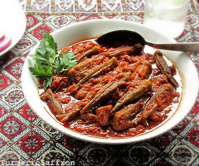 Khoresh-e Bamieh-o-Bademjan - Eggplant and Okra Stew by Turmeric & Saffron