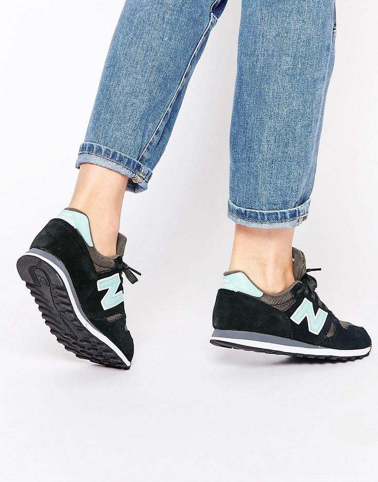 New Balance 373 Black & Turquoise Suede Trainers saved by #ShoppingIS