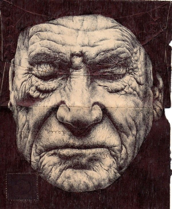 London-based artist Mark Powell has chosen the backs of old envelopes as a canvas for these delicately rendered portraits of the elderly, using nothing more than a standard Bic Biro pen to create the delicate folds and wrinkles of their skin. I love everything about these. See much more of his work here and he sells a number of art prints over on Society6.