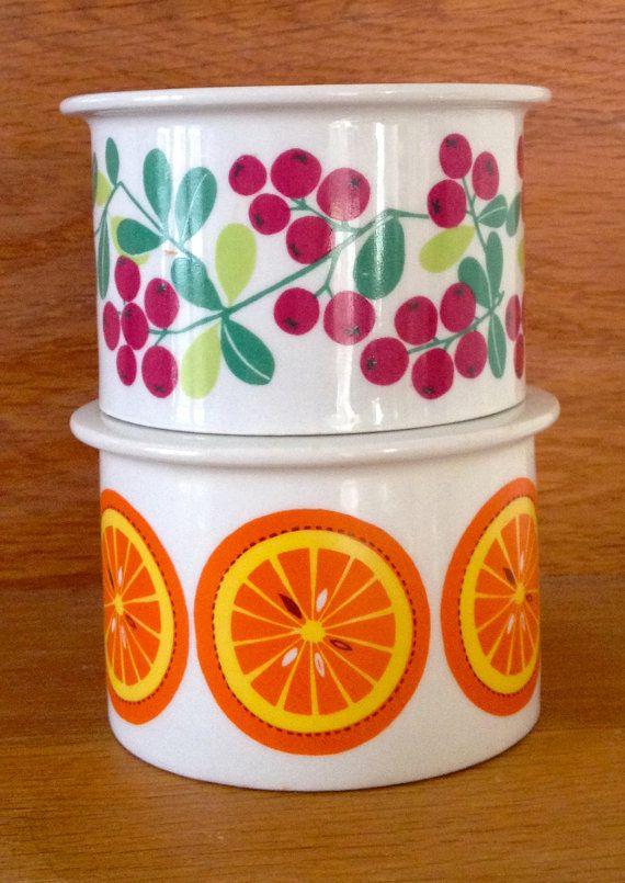 2 ARABIA FINLAND Jam Jars Pomona Orange Red by SCANDIANDERSEN, €50.00