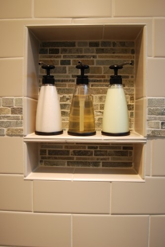 cubby in shower wall for shampoo & conditioner etc. - but drainage (holes on bottom of shelf or slightly slanted somehow)