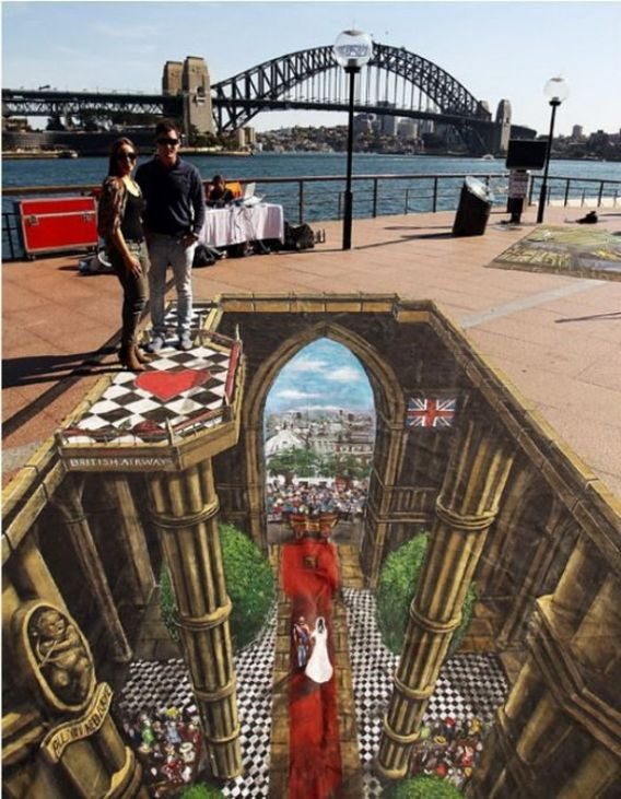 Sidewalk Chalk Painting... to me this is the most amazing art form.  it takes a different perspective and knowlege of how things are seen to make it look so real.