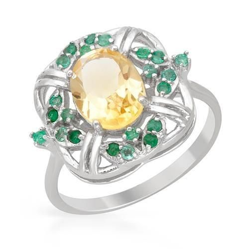 Ring With Citrine Emeralds - Size 6 Size 6. Stylish ring with citrine and emeralds beautifully crafted in 925 sterling silver. Total item weight 3.7g. Gemstone info: 1 citrine, 1.64ctw., oval shape and yellow color, 22 emeralds, 0.26ctw., round shape and green color.