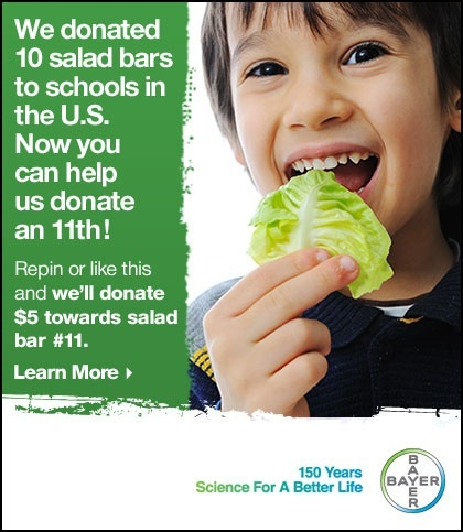Repin or like this pin and we'll donate $ 5 toward an other salad bar for a school in the U.S.. Click through for details! #GiveASaladBar