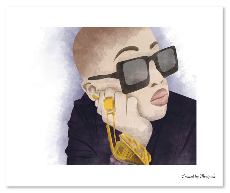 Did a watercolour illustration of Nomuzi Mabena what do you think? #watercolour #sketch #drawing #fashionillustration #sunglasses #jewelry