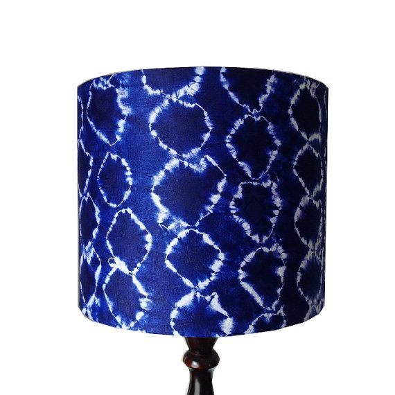 Tie Dye Lamp shade Blue Nordic style Boho by DetolaAndGeek on Etsy