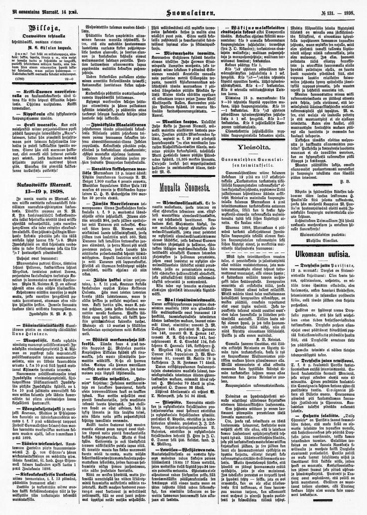 14.11.1898 Suomalainen no 131 - Sanomalehdet - Digitoidut aineistot - Kansalliskirjasto