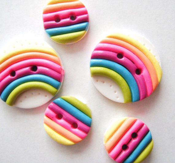 Button Rainbows handmade polymer clay buttons  5  by digitsdesigns,