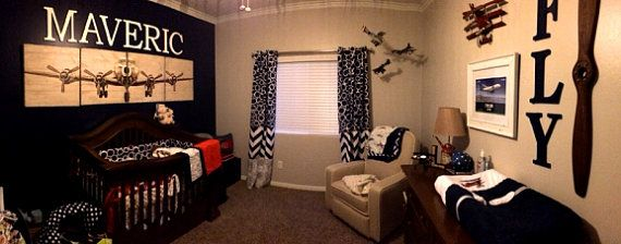 Navy and Red Aviation Nursery  Design Your Own  by thelittlechick