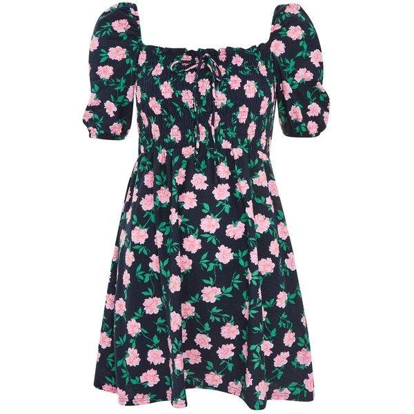 TopShop Floral Print Shirred Bardot Skater Dress ($55) ❤ liked on Polyvore featuring dresses, multi, ruched dress, floral dresses, ruching dress, gathered dress and floral printed dress
