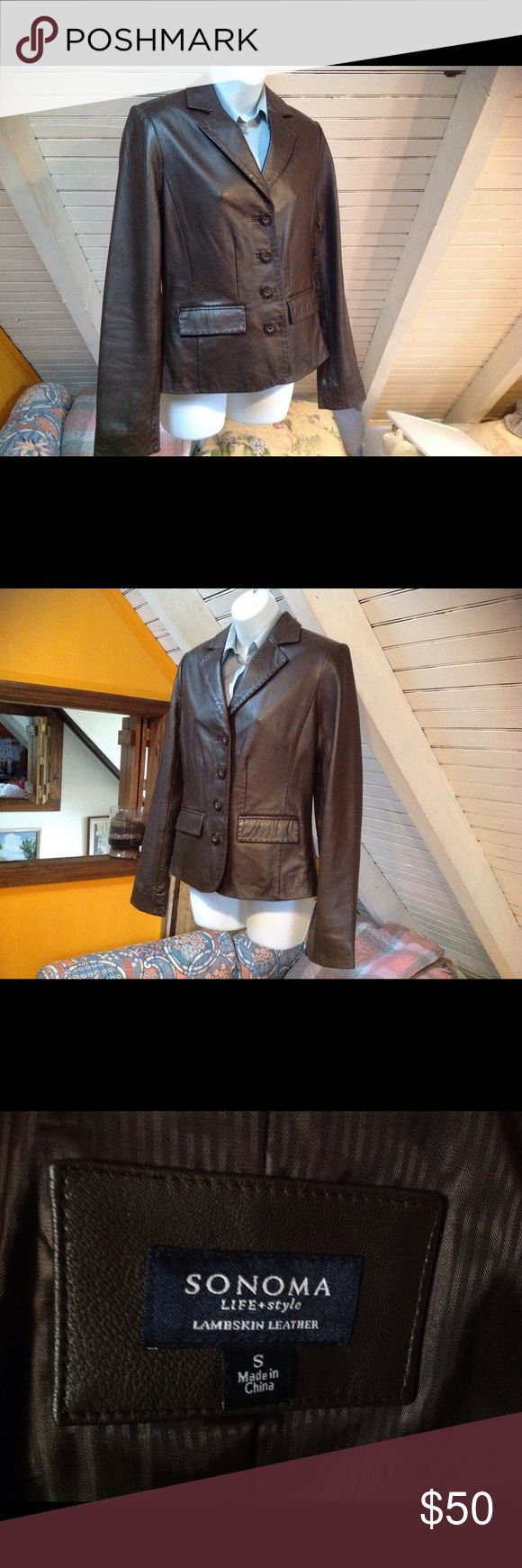Stunning brown lambskin leather jacket. Brown lambskin leather jacket with lovelt stitching. Sonoma Jackets & Coats Blazers