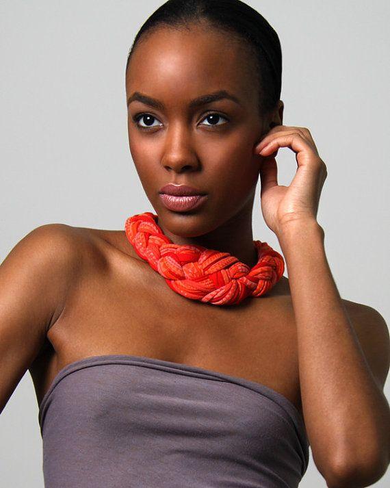 Orange Braided Necklace, Orange Braid Necklace, Orange African Necklace, Orange Braided Neckpiece, Burning Man Accessories, Orange Necklace