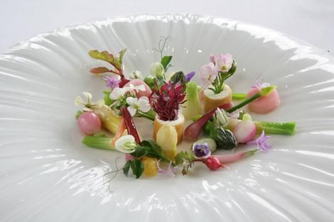 Platter of pure nature ... Peter Gilmore's salad of young vegetables, herbs, flowers and goats curd cigars, inspired by Michel Bra's Gargouillou