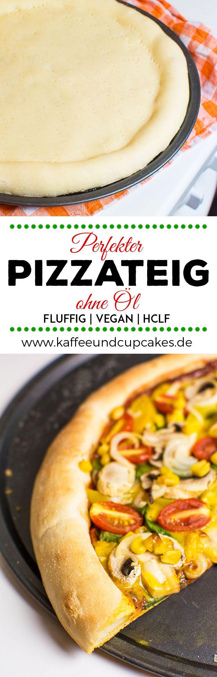 Dieses Rezept für Pizzateig kommt ganz ohne Öl aus und ist daher so gut wie fettfrei. Dennoch ist der Pizzateig richtig weich und fluffig, aber gleichzeitig fest genug, dass man die Pizzastücke auch einzeln mit der Hand hochheben kann. Also kurz gesagt, er ist einfach perfekt. | Kaffee & Cupcakes #pizza #pizzateig #veganepizza #pizzaboden #fettarm #fettfrei #hclf #lowfat #vegan #ohneöl