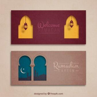 Cute ramadan banners with arabic windows
