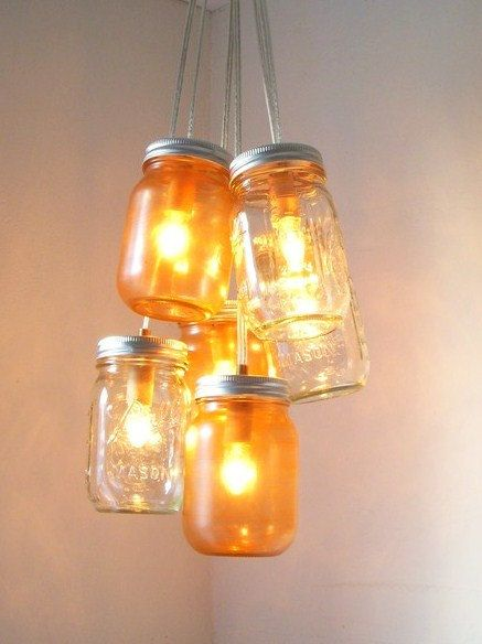 Mason jar chandelier by BootsNGus: Amber Sunsets, Canning Jars, Lights Fixtures, Hanging Pendants, Ball Mason Jars, Mason Jars Lamps, Pendants Lights, Mason Jars Lights, Mason Jars Chandeliers