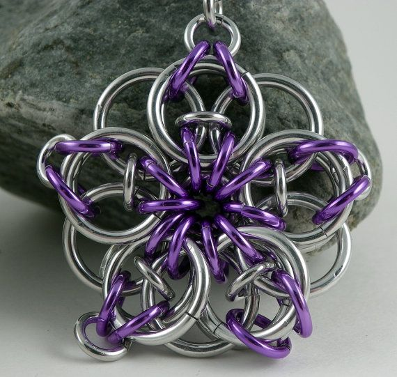 Celtic Star Heart Key Chain with Purple Accents  by CreationsbyUli, $8.00