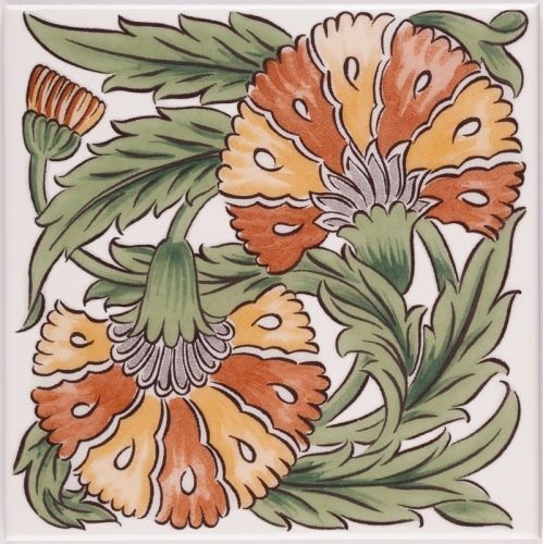 V&A Carnation Decor Tile, based on the works of William De Morgan in the The Tile Gallery, part of the permanent collection at the Victoria & Albert Museum, United Kingdom, 2013, by British Ceramic Tile.