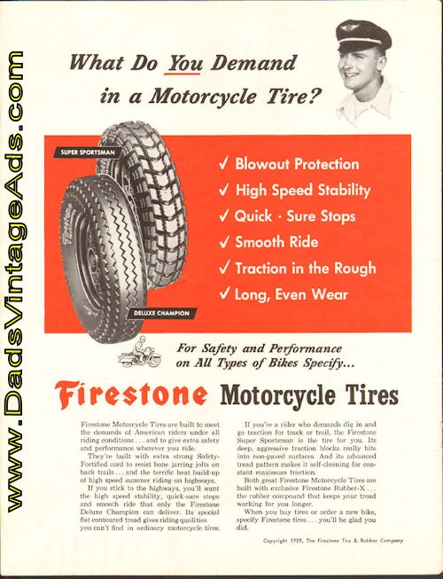 1959 Firestone Motorcycle Tires – what do you demand in a motorcycle tire?