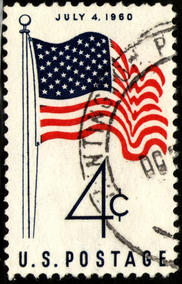 1960 US Flag Stamp     The FIRST stamp to feature the 50 star US flag, changed after Hawaii's entrance into the union on August 21, 1959.