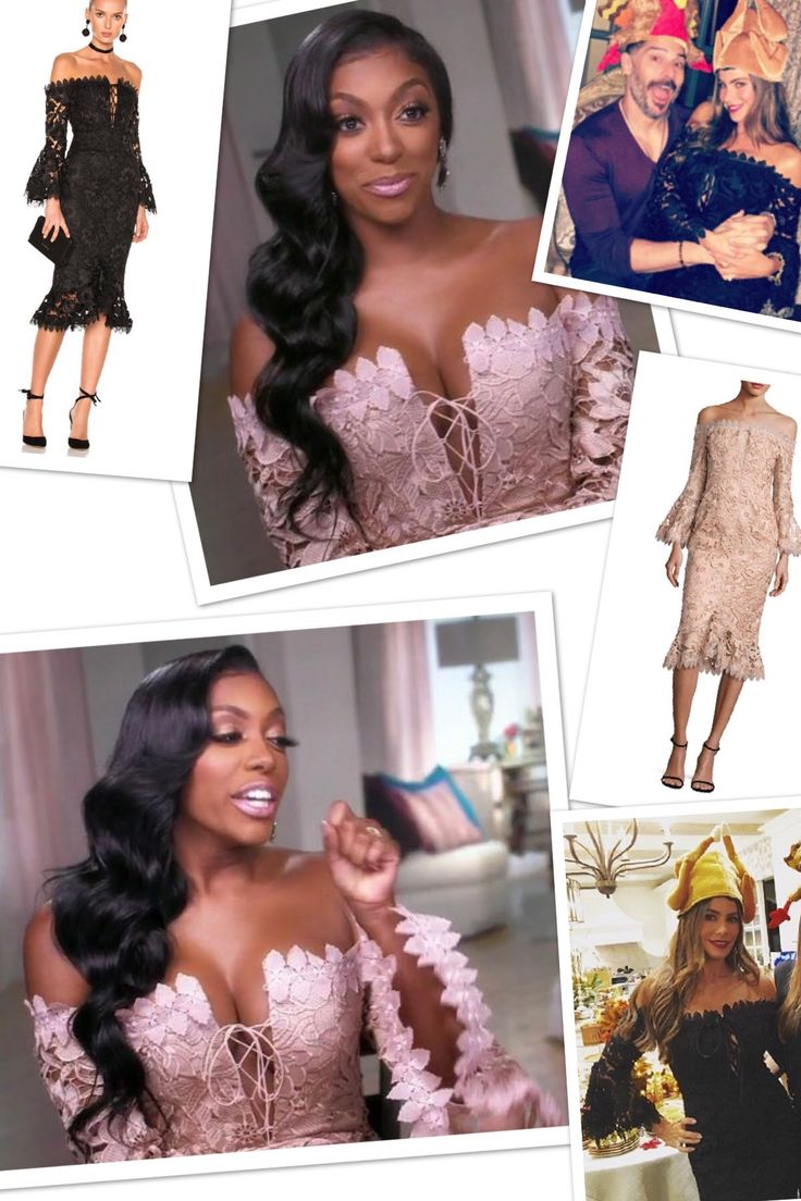 Porsha Williams' Pink Lace Off the Shoulder Dress http://www.bigblondehair.com/real-housewives/rhoa/porsha-williams-pink-lace-off-the-shoulder-dress/ Real Housewives of Atlanta Fashion
