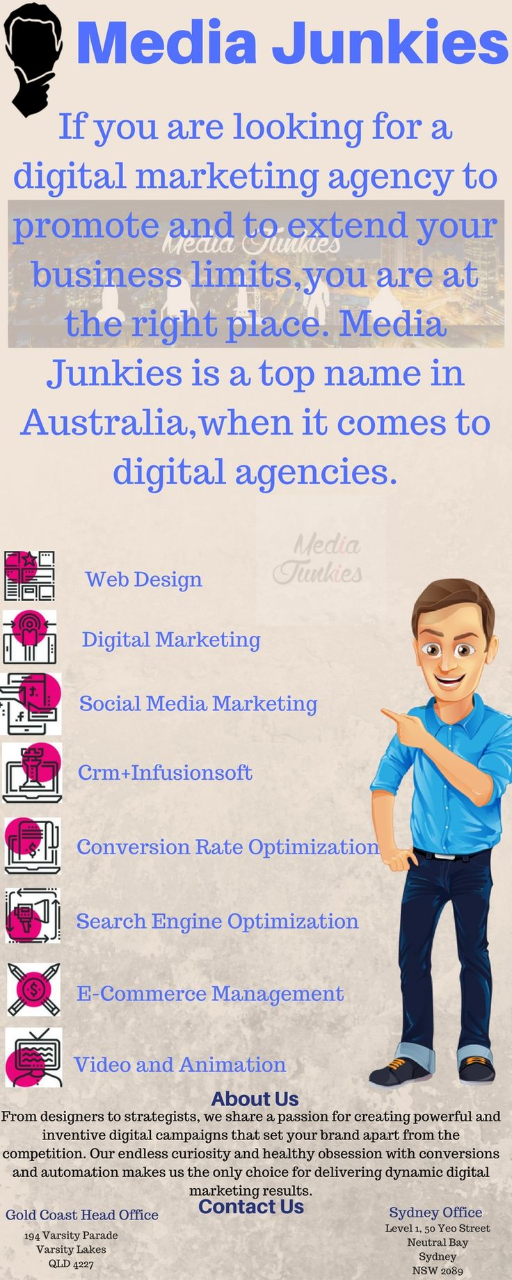 Today Digital marketing is very important for every business to grow. Traditional  approaches like banners and poster distribution are not so effective to help a business  to stand up.So its time to digitize your business marketing and Media Junkies are always ready to serve you for your online marketing needs. we are successfully working from few years in Digital marketing world.For further details about our services,you can come to our any office or visit us at: https://mediajunkies.co