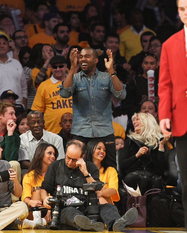 Pin for Later: 14 Times Kanye West Was Ridiculously Happy When He Watched the Chicago Bulls Play the LA Lakers