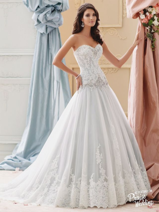 This David Tutera gown in sea mist color is so chic and princessy!