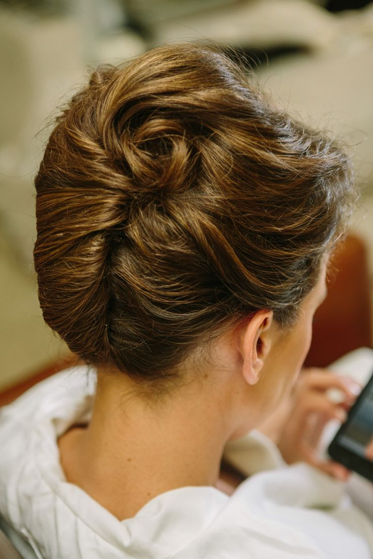 Hairstyle - Classic French Twist | See the wedding on SMP: http://www.StyleMePretty.com/2014/02/21/elegant-healdsburg-wedding-at-barndiva/ Matt Edge Wedding Photography
