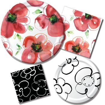 kathy davis mod poppies party at lewis elegant party supplies plastic dinnerware paper