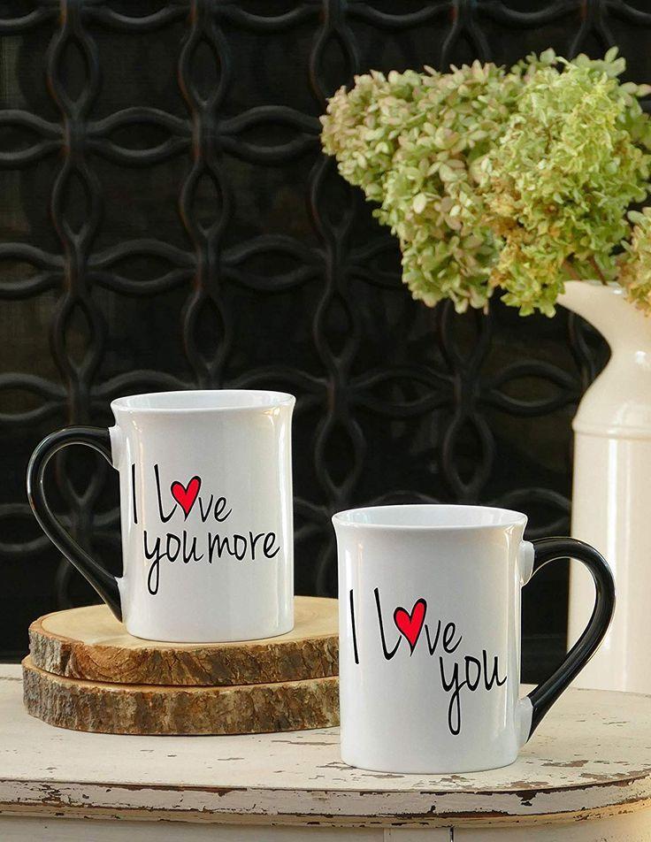 36ea29df8a0 I Love You, I Love You More- Set Of Two Large 18 Ounce White Ceramic ...