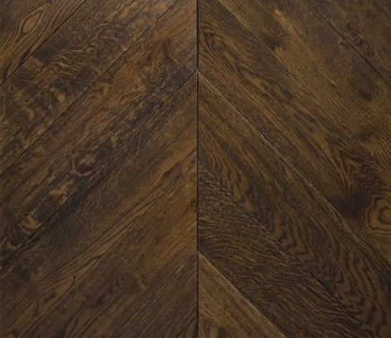 DARK BROWN. Stained oak chevron engineered parquet wooden floors.   Commercial and domestic projects within the United Kingdom.