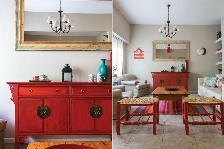 Living comedor y hall integrados con colores y texturas for Muebles para living comedor
