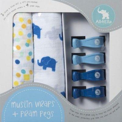 All4Ella-2pack-muslin-wraps-&-4-pram-pegs-blueelephant&spots-baby-shower-gifts-WP27