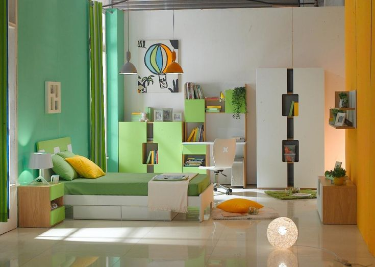 Colorful Style Bedroom Ideas For Kids With Cool Cabinet And Unique Globe  Floor Lamp Also Fancy Study Desk And Wall Mounted Bookcase And Shelves Also  Cute ...