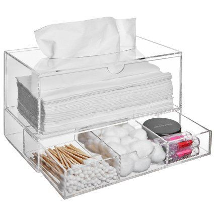 Modern Clear Acrylic Countertop Pull Out Storage Drawer / Cosmetic Organizer Box w/ Tissue Dispenser