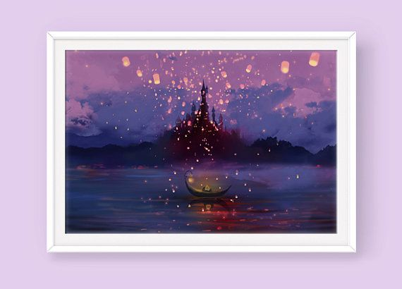 Tangled Poster: Away with You, Tangled Movie, Tangled Lantern Scene, Rapunzel, Custom Sizes Available